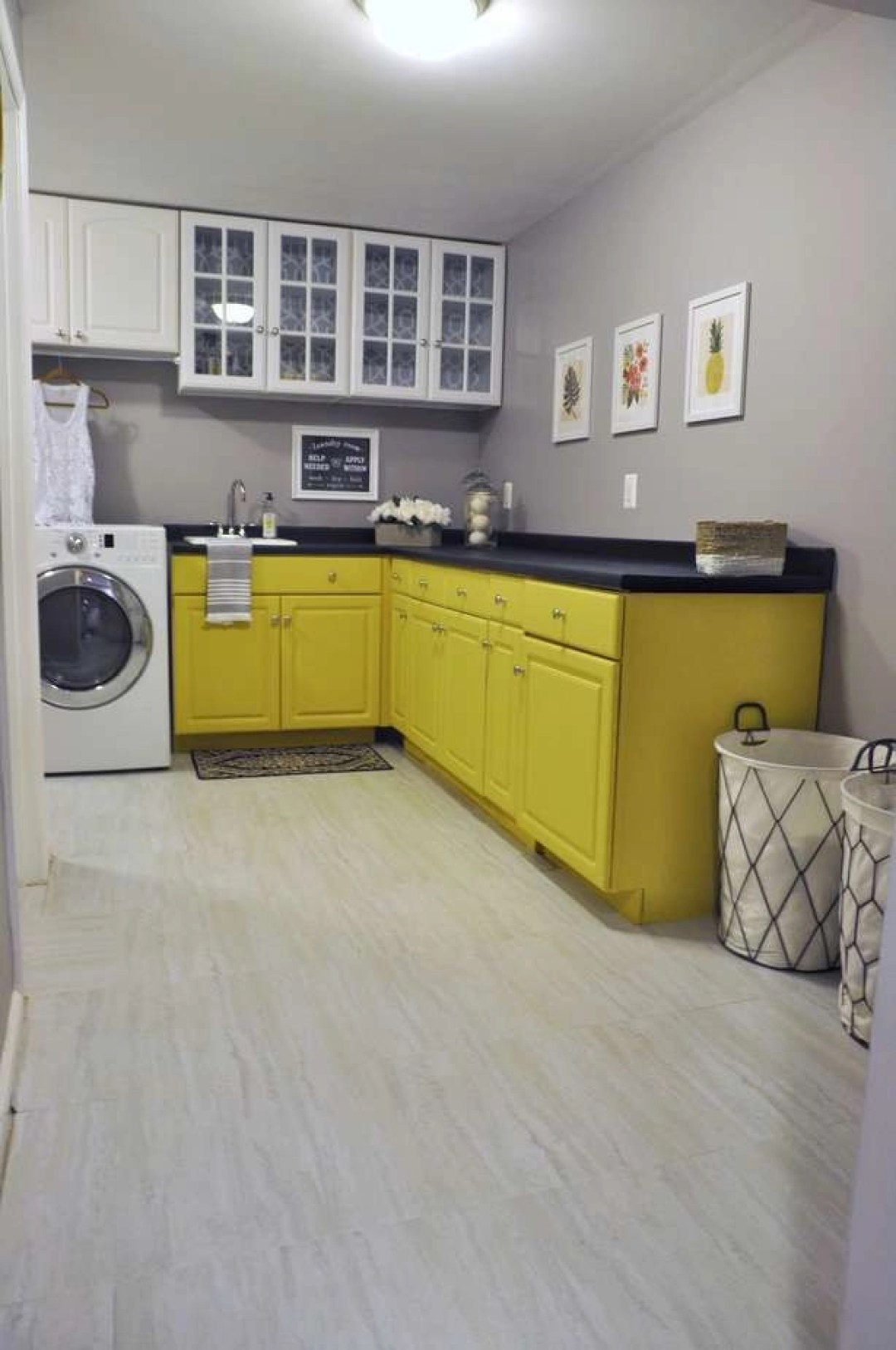 laundry room makeover cabinets chalk paint