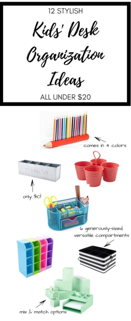 Awesome kids' desk organization ideas, and they're all under $20!
