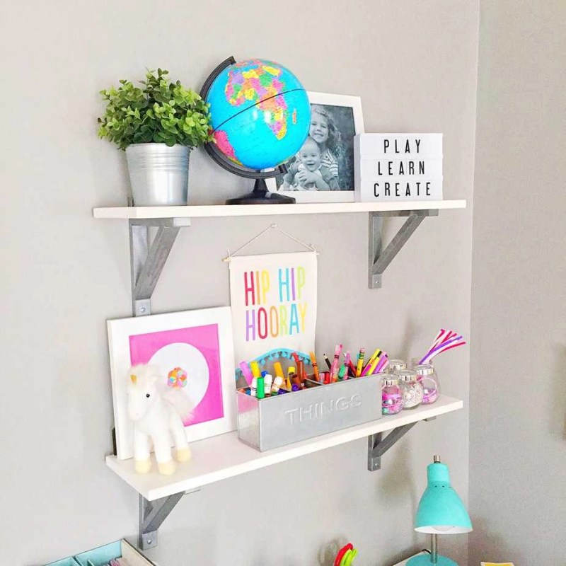 Kids organization ideas desk shelves