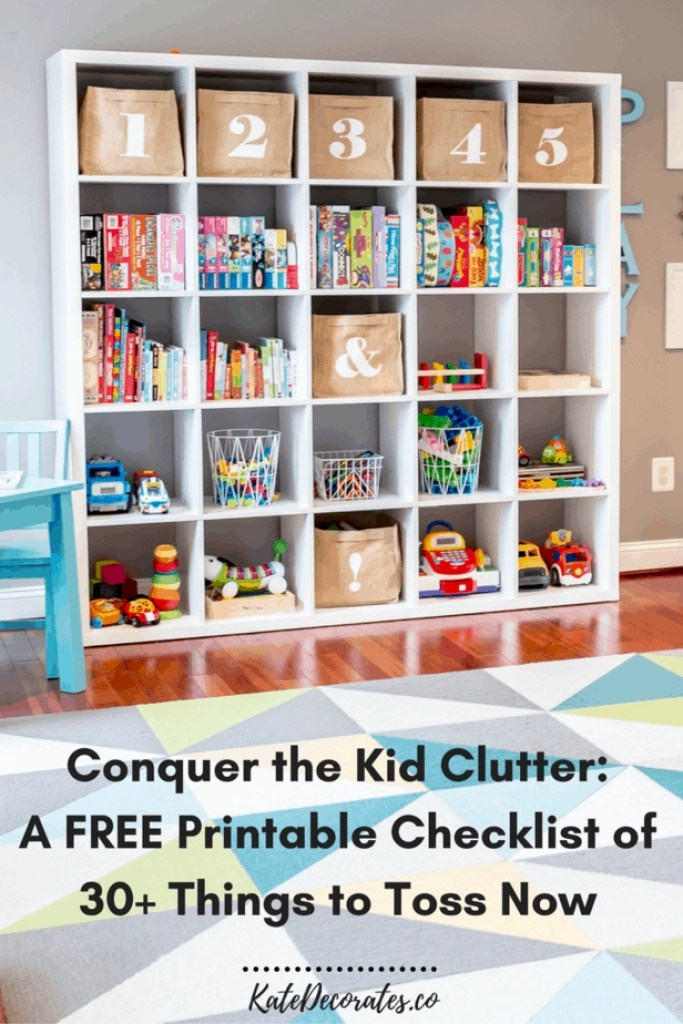 Overwhelmed by the kids' clutter? This FREE printable checklist will jump start your cleaning efforts and save your sanity.