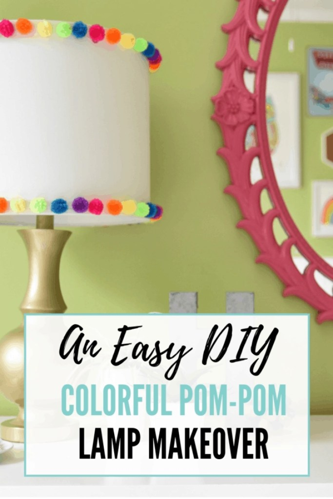 This colorful DIY pom pom lamp is so cute!
