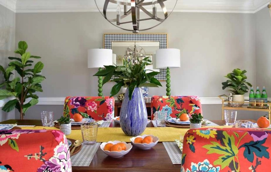 colorful dining room spring decorating