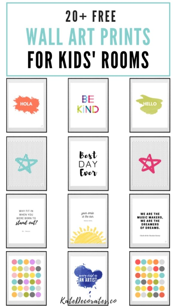 These free colorful kids wall art prints are SO CUTE! Love them all. #wallart #kidsdecor #kidsroom