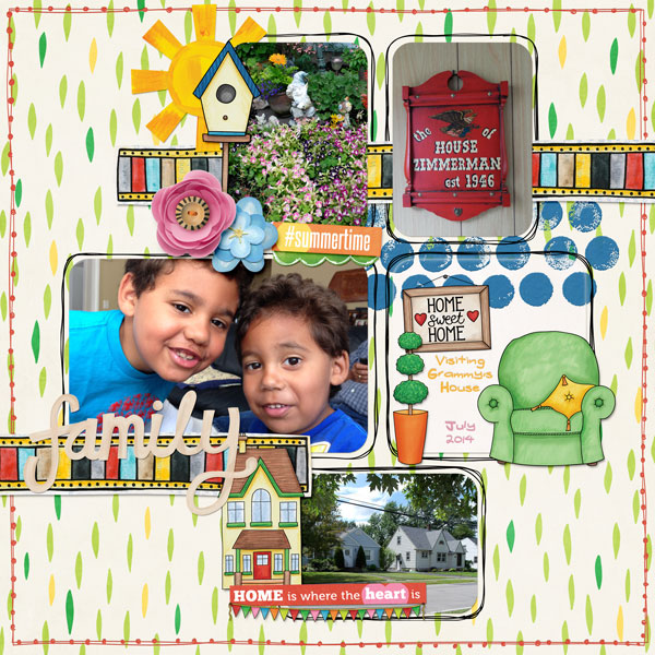 Weekend at Home digital scrapbooking page | scrapbook layout ideas | Kate Hadfield Designs creative team layout by Stephanie