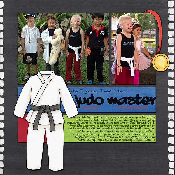 Black Belt - digital scrapbook layout from Kate Hadfield Designs creative team member Bethany