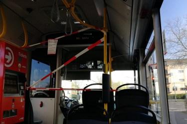 Absperrung im Bus