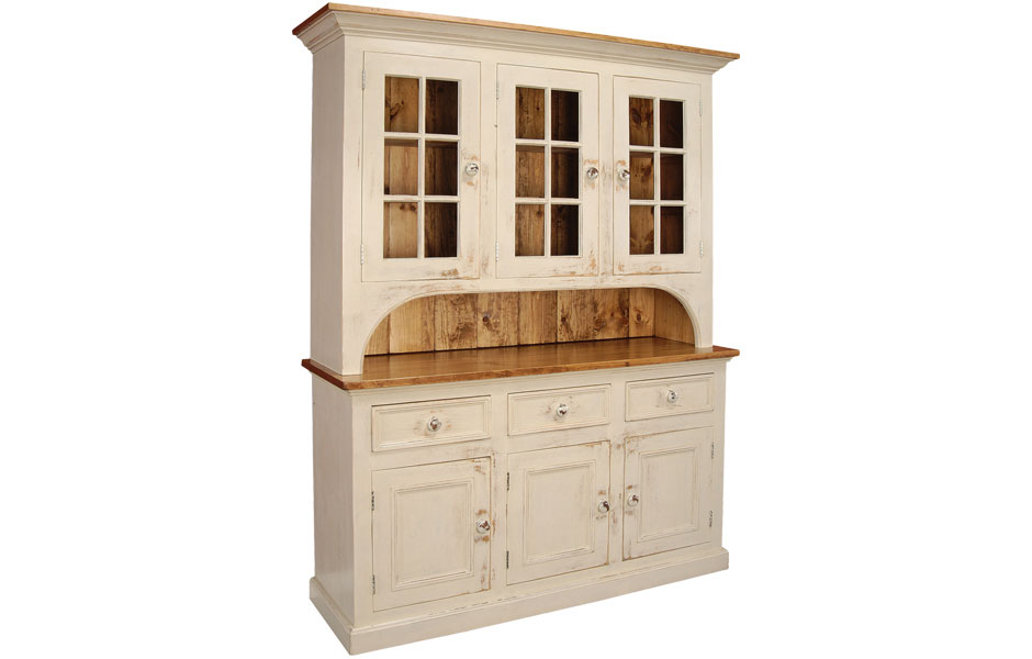 French Country Three Glass Door Stepback Cupboard French