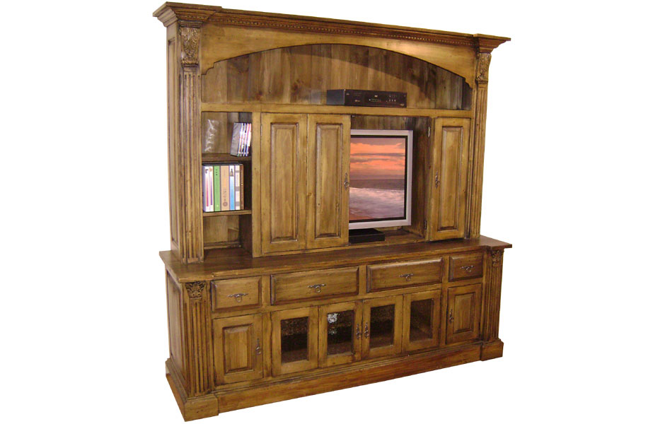 French Country Provincial TV Armoire With Bifold Doors