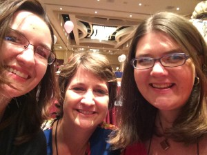 Tara Sue Me, Jennifer McQuiston, and Yours Truly take a selfie before the literacy signing. I do a lot of signings with these ladies because of the alphabet.
