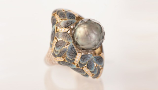 Ilgiz F. Butterflies enamel ring with a Tahitian pearl faceted by Viktor Tuzlukov