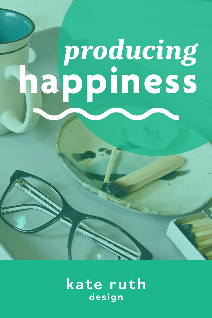 "Photo of items on a tray including glasses, coffee mug, and incense with the text ""producing happiness"""