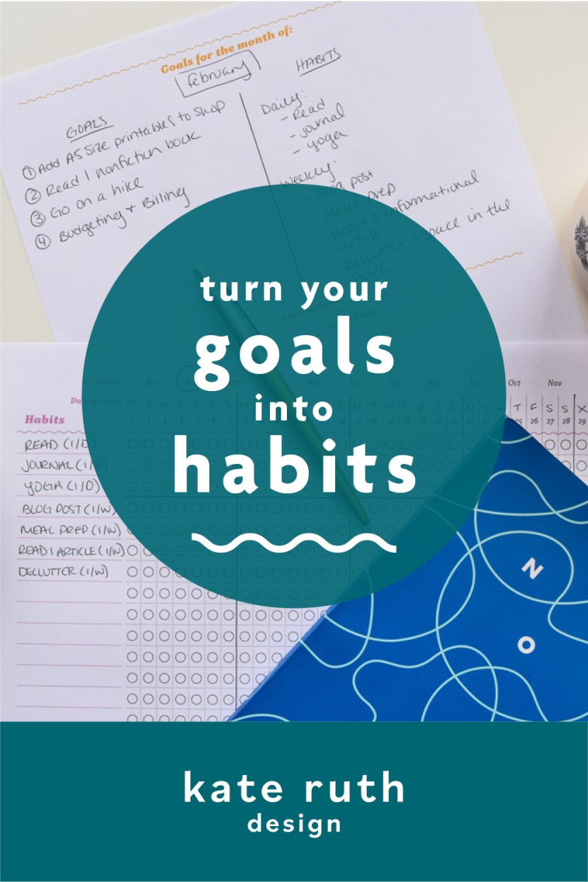 "photo of planner pages with text: ""turn your goals into habits"""