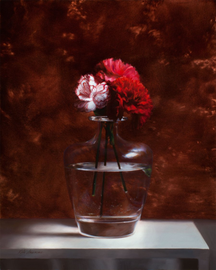 Spanish Carnations, 16x20, oil on panel by Kate Sammons