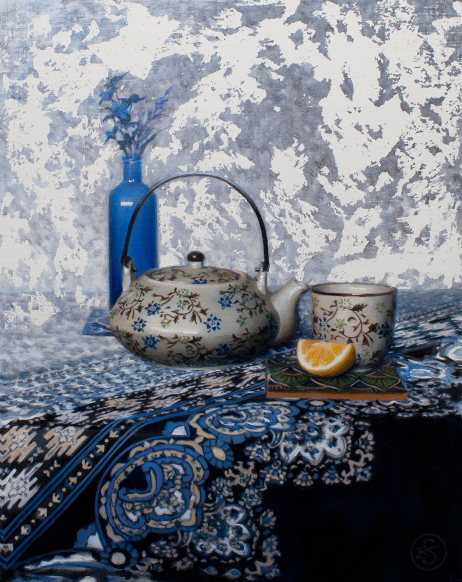 Tea in Blue, 14 x 11, oil, by Kate Samnmons
