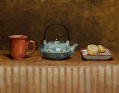 Still life with Tea, 11 x 14 inches, oil on panel