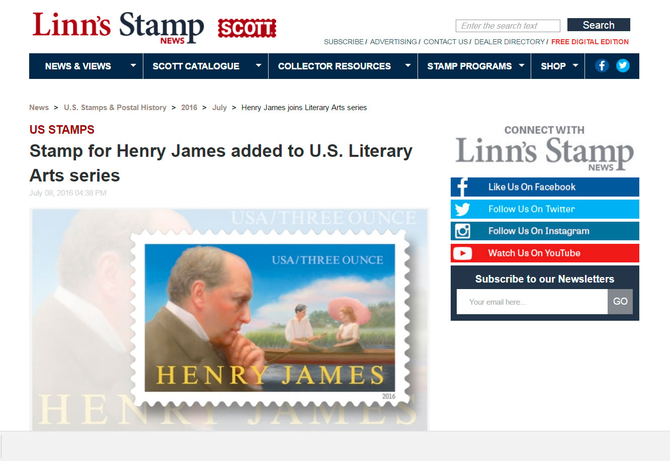 Stamp for Henry James joins Literary Arts Series
