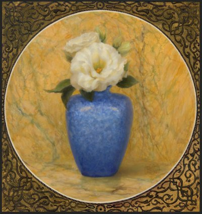 Blue Vase, 11x10.5, oil and gold leaf by Kate Sammons