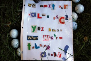 A ransom note left in my backyard.