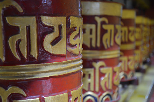 Prayer Wheels at the Shree Gaden Dhargay-Ling Monastery in Pokhara, Nepal.