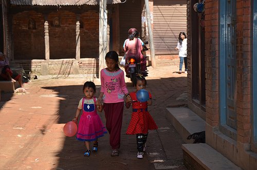 Little Girls in Bhaktapur, Nepal.