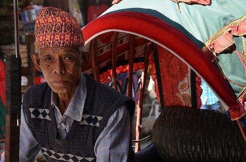 Man in a Haka Topi in Kathmandu, Nepal.