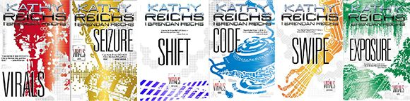The Virals series by Brendan Reichs and Cathy Reichs is about a pack of four teens and one wolf dog and the alpha of the group is a very smart girl.