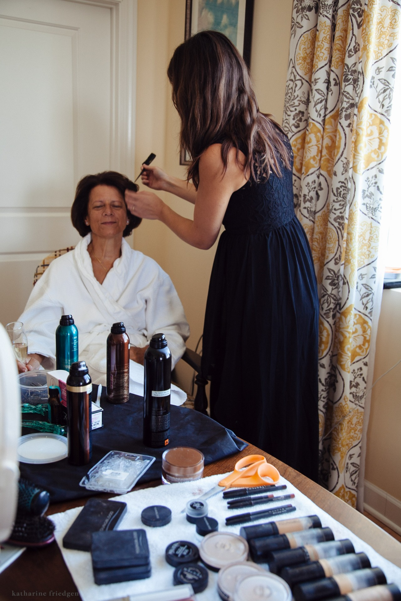 hair and makeup at the wedding