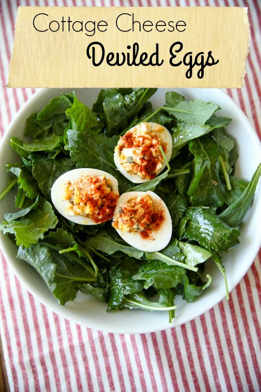 Cottage Cheese Deviled Eggs // katheats.com