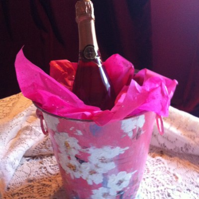 Kathe Fraga hand-painted wine bucket.