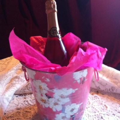 Kathe Fraga hand-painted wine bucket.