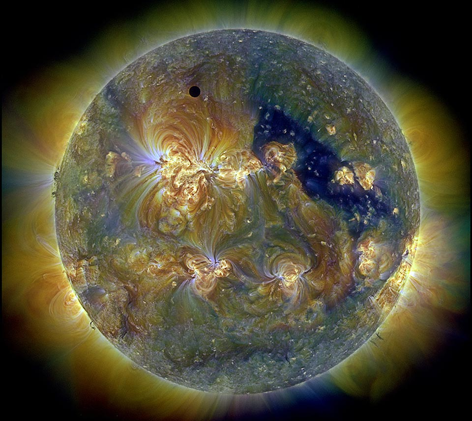 The Sun and Venus in UV. NASA.