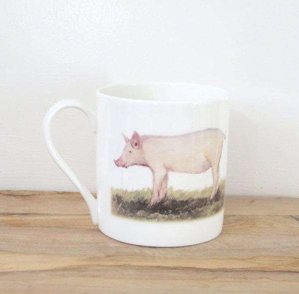 fine bone china pig art mug
