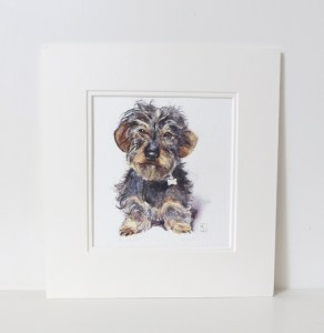 wirehaired dachshund painting
