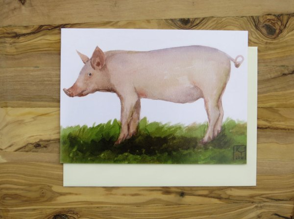 pig greetings card, artists greetings cards