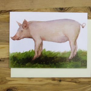 pig greetings card, artists greetings cards