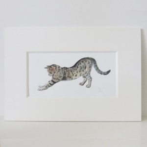 bengal cat pouncing painting