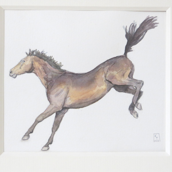 bucking thoroughbred horse watercolour