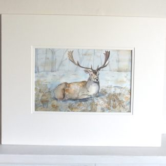 Fallow-Deer-Stag-in-Snow-Watercolour-Painting