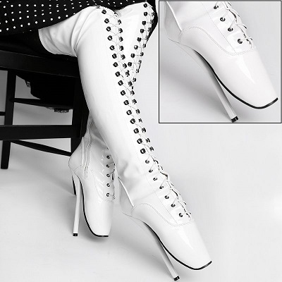 Lack Overkneestiefel Ballett Boots weiß extrem hoher Absatz von Kassiopeya