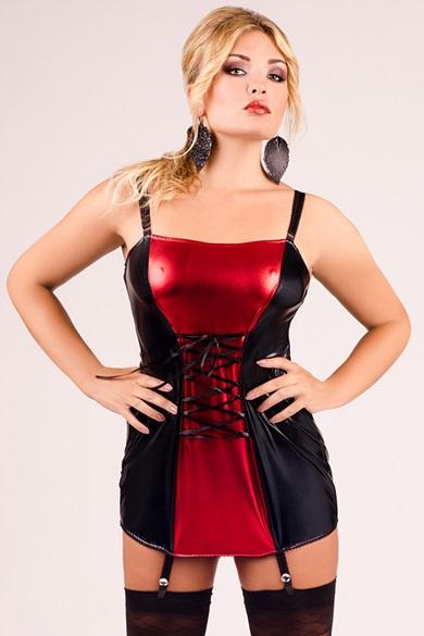 schwarz/rotes Strapshemd M/1024 von Andalea Dessous EAN: 5901885300801