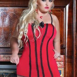 S/3010 rotes Strapskleid von Andalea Dessous