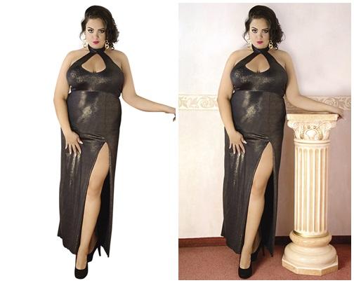 Goldenes langes Wetlook-Kleid von Andalea Dessous