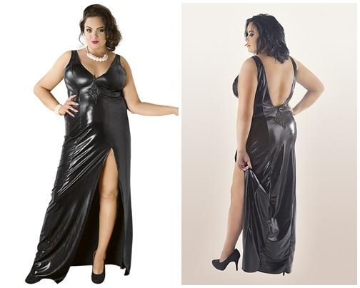 Langes schwarzes Wetlook-Kleid C/4005 von Andalea Dessous