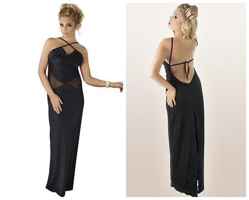 Schwarzes langes Kleid M/1068 von Andalea Dessous
