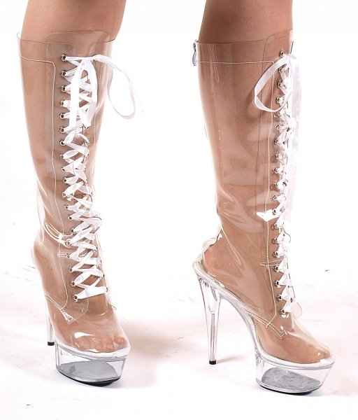 Kniehohe Plateau Boots / Stiefel glasklar von Kassiopeya