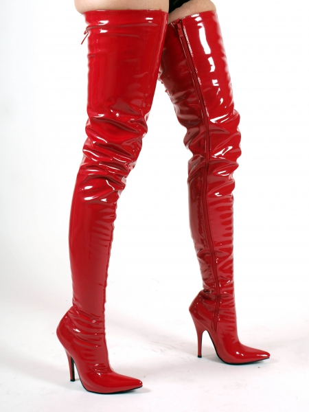 Crotch Overkneestiefel High Heels Stiefel rot extra lang von Kassiopeya