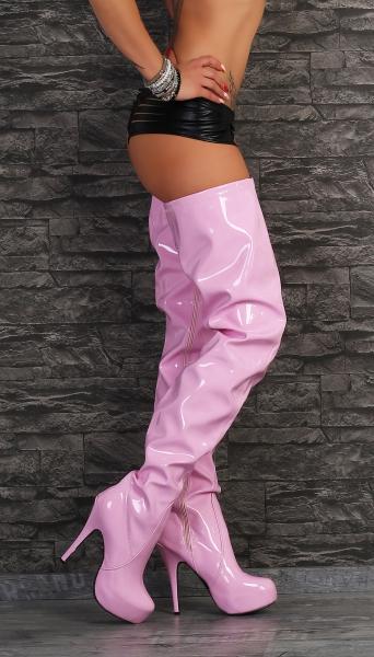 Crotch Plateau Overkneestiefel Pink