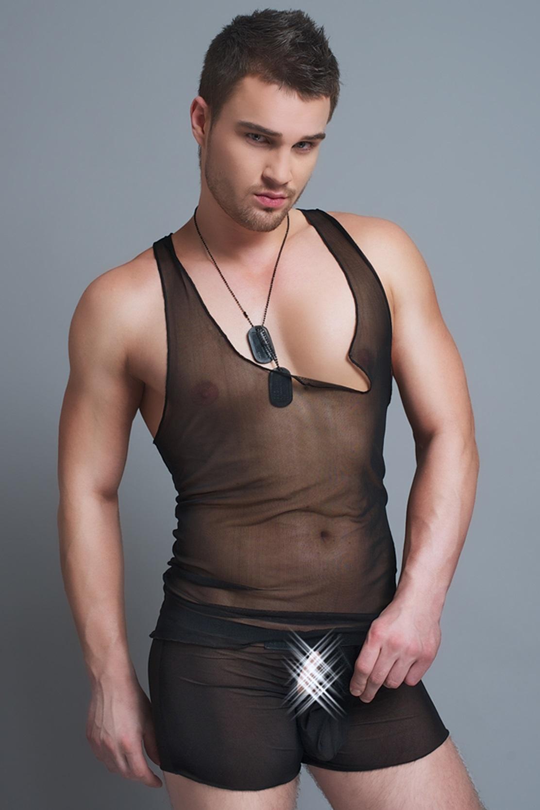MC/9038 Hemd-Boxer-Set aus schwarzen Tüll für Herren von Andalea Dessous