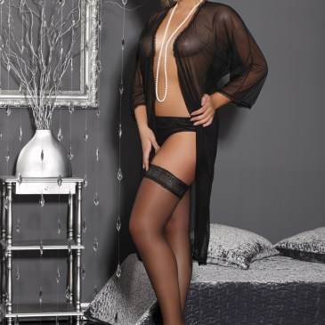 M/1060 schwarzer langer Morgenmantel Delicate Sophie von Andalea Dessous