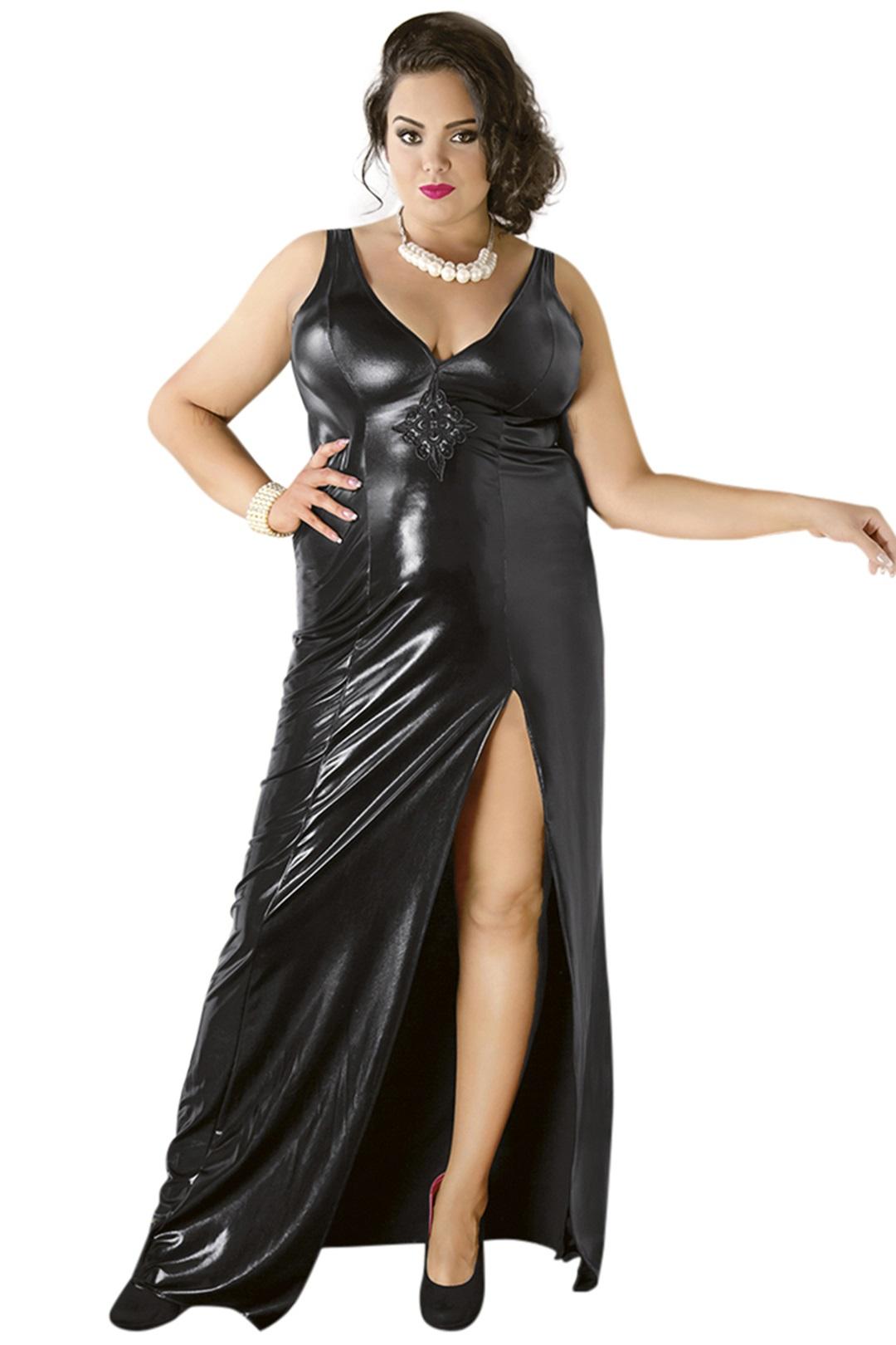 C/4005 Langes schwarzes Wetlook-Kleid von Andalea Dessous